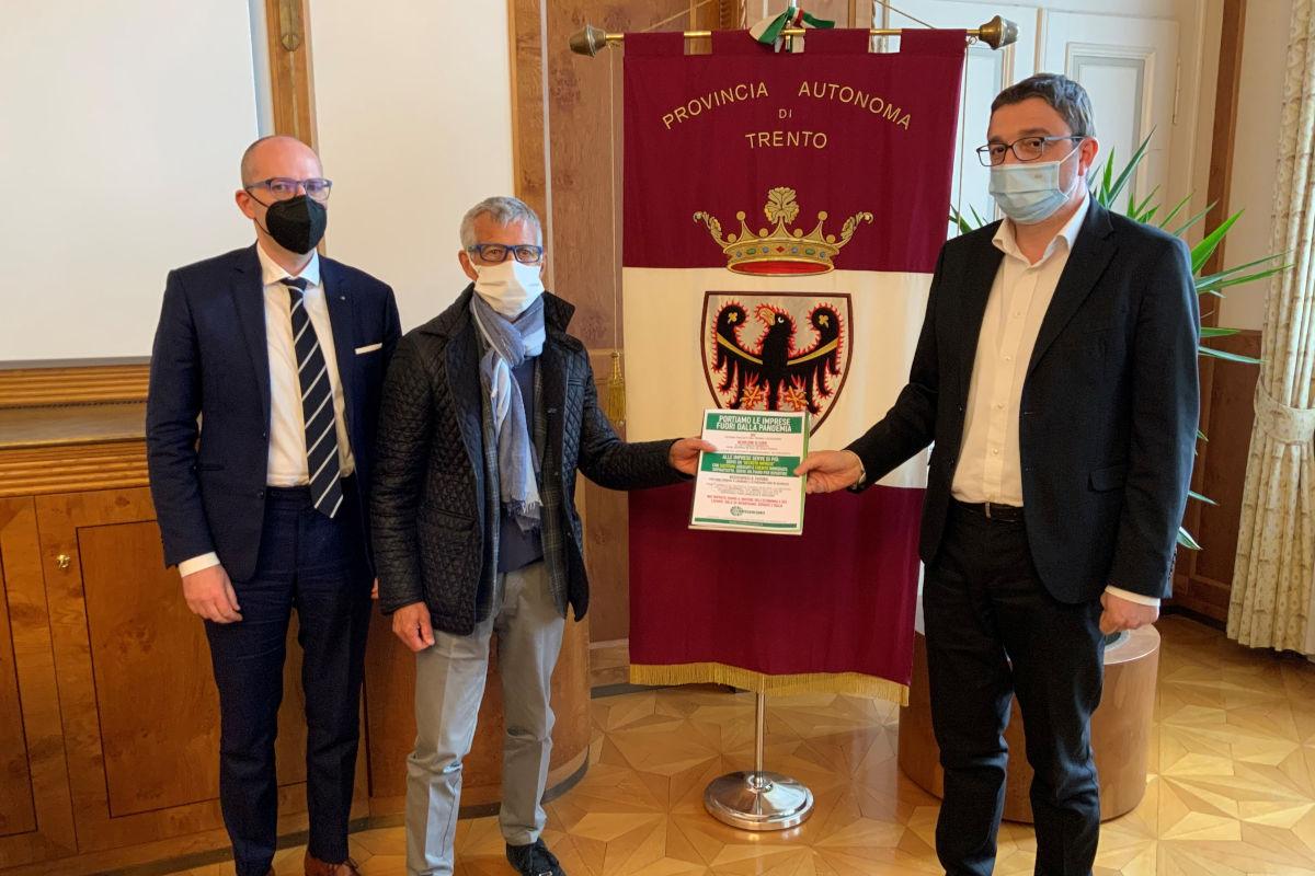 Delegazione Confesercenti del Trentino , incontra il presidente della Provincia Autonoma di Trento Maurizio Fugatti